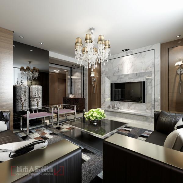 华宇凤凰城140㎡样板间--客厅电视背景墙设计效果:石材的使用营造优美的线条艺术感。