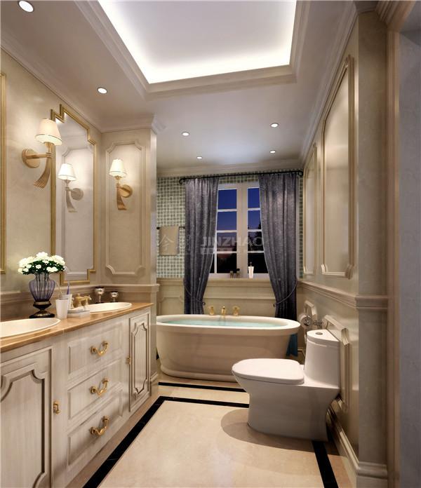 卫生间:白色洁具以及金色小细节,整体空间精美洁净。