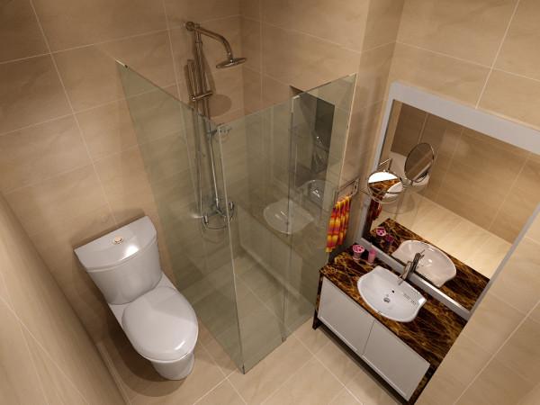 卫生间墙面采用浅黄色墙地砖,整体色调与客厅卧室一致。