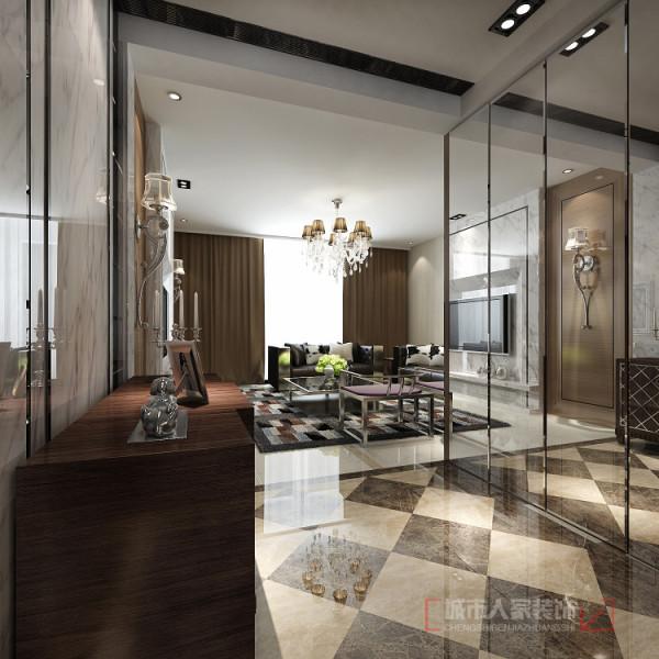 华宇凤凰城140㎡样板间--入户门厅设计效果 映入眼帘是奇妙的美景