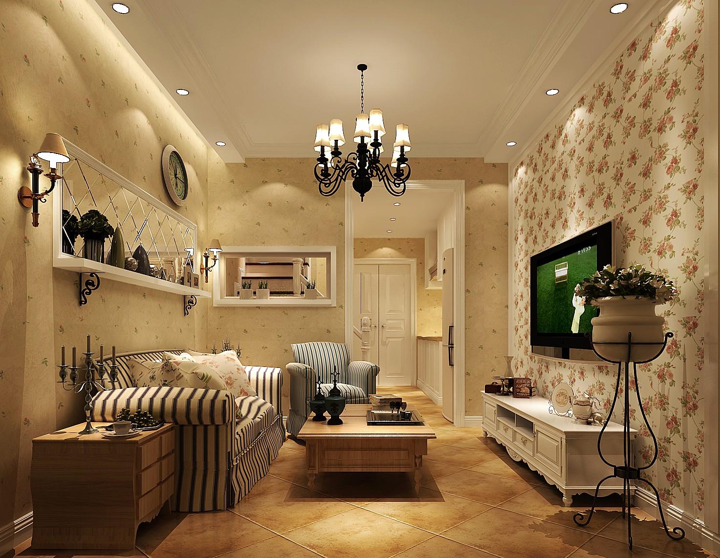 装修公司 客厅图片来自成都高度国际在富临理宫-40㎡-美式田园风格