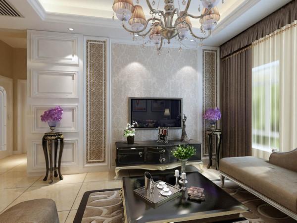 本案室内布置,客餐厅:主要是以欧式石膏板、石膏线和欧式壁纸为电视背景墙,石膏线圈边和油画为沙发背景墙