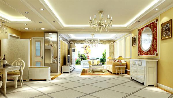 客厅地面选用45度角菱形斜铺的通体砖,沙发墙面选石膏平角线的装饰墙,电视墙选用了壁纸和镜面的造型作为搭配,欧式又不失现代,整体风格温馨而不失个性。