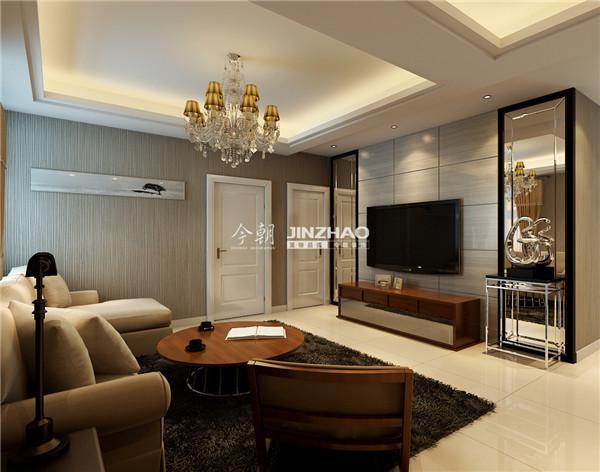 栗色的圆形茶几以及电视柜和座椅给了欧式更加高贵的感觉,米色的沙发让空间瞬间点亮。