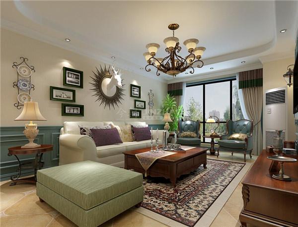 浅蓝色和白色的墙面设计,白色的沙发套装,白色和浅绿色的沙发柔软舒适,地中海风情的小摆设都十分精致美观。