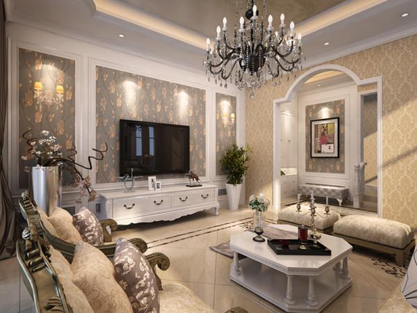 电视背景墙则采用石材作为设计元素,既简洁大方,又增强了整个空间的韵律感、节奏感
