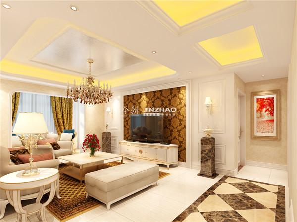 欧式的线条美给了空间更多的雅致,豹纹系列的窗帘、背景墙、地毯使得空间变得文雅。