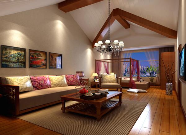 家具主要以缅甸柚木纯实木为主,由于三层的房高以及异性特殊的部分,跟业主沟通以后决定采用东南亚风格,保留原始梁的造型并且赋予柚木实木贴面,纵向配以松木桑拿板刷白色开放漆,有色彩辅助的同时又突出了质感。