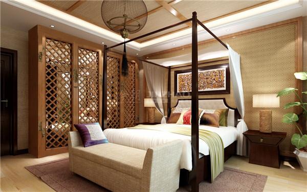 复古的木架床古色古香,木质镂空衣柜的设计精美绝伦,以及灯笼形的灯饰,整个卧室古典气质十分特别。
