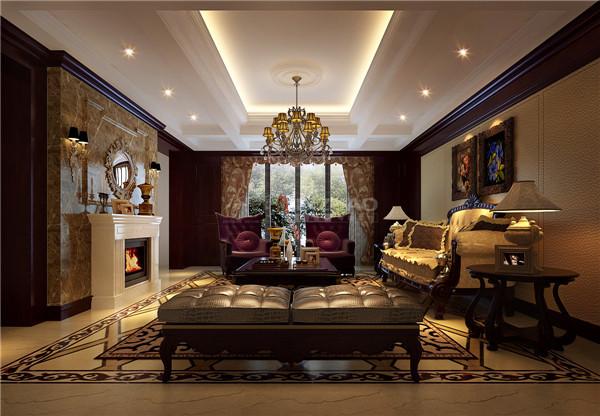 以壁炉为主体,华丽的灯饰,浓郁的色彩都有雍容华贵的装饰效果,整体如同一副精美的欧式油画,充满了艺术气息。