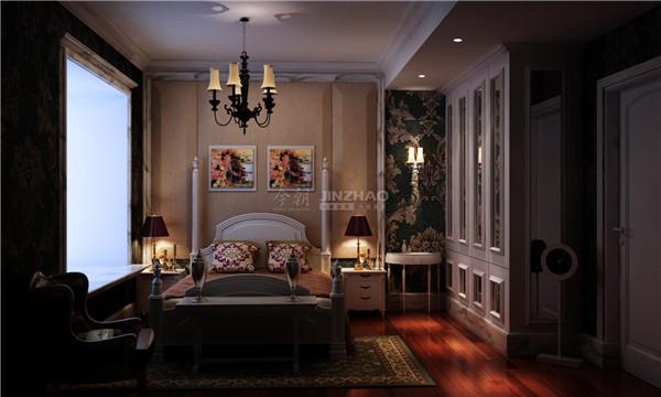 基本色调采用了金色,十分华丽,高贵的丝绸金色窗式和床帘凸显了主人对生活品质的要求,整体的空间搭配有很强烈的视觉冲击效果。