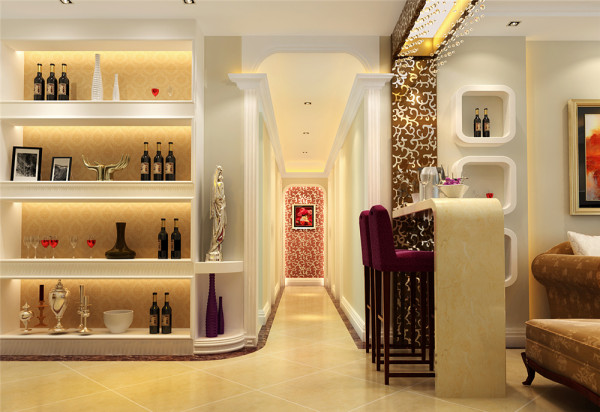 设计师经过精密构思,在门厅处隔出来一个衣帽间,同时兼顾门厅的玄关装饰和鞋柜的实用功能。使原本平淡的空间变得舒适、美观又别具一格……