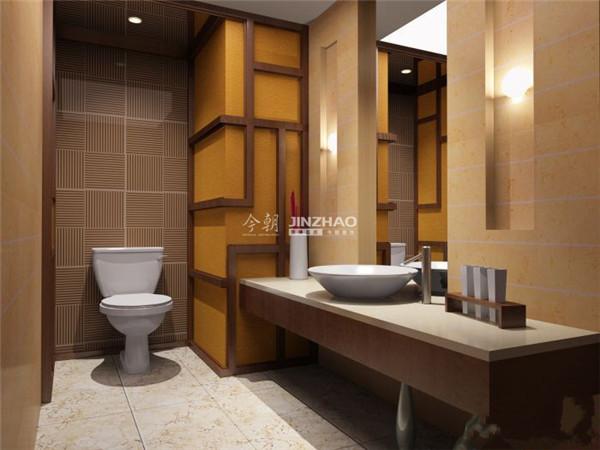 传统的典雅的卫生间,采用古典黄色调以及墙面装饰,中式的家居效果完美。