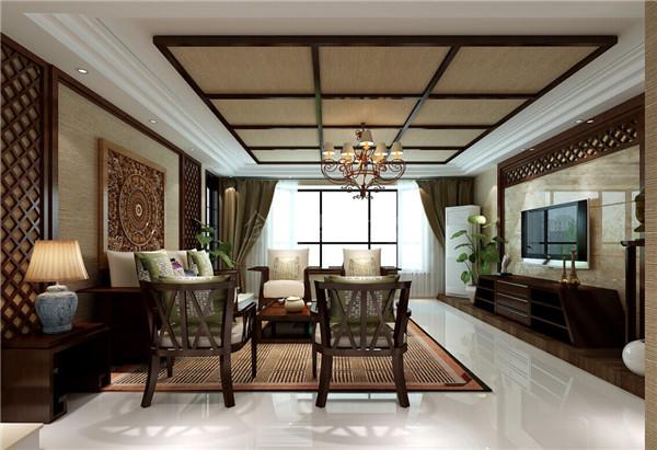 客厅作为接待客人的空间,这里的装饰并不算豪华,素净文雅的装扮,沙发背景墙上木质立体的图腾.木质的椅架以及精致的软面沙发和抱枕让细节十分精致。