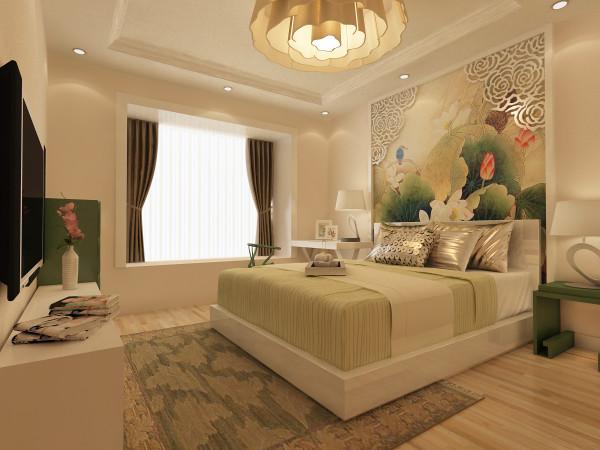 床头的荷花壁画,表面小雕花格的处理。