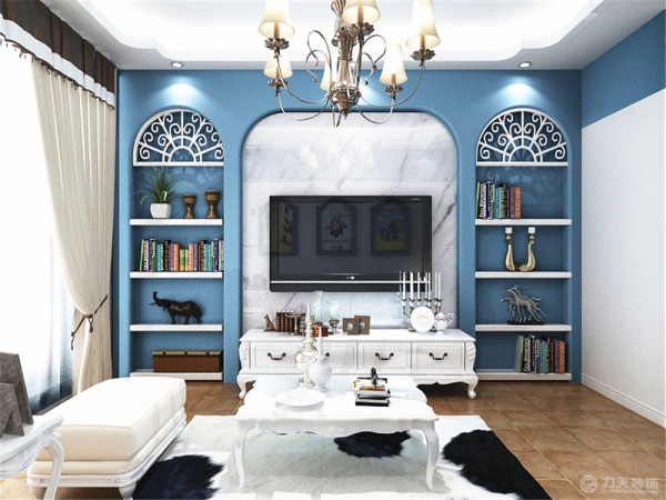 电视背景墙采用了拱形的书架,给人向往自由和和光明的感觉。电视后采用了石材背景提亮空间与整体风格相呼应。