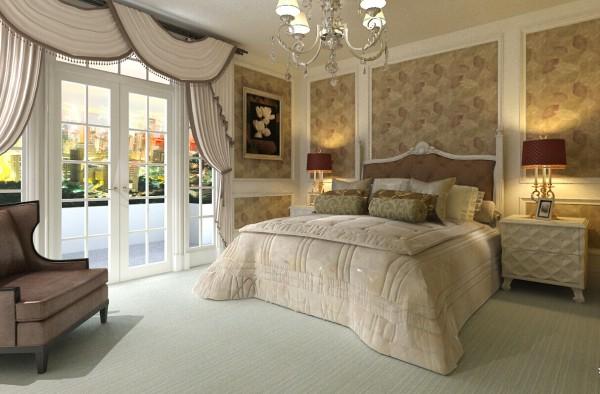 主卧在色调搭配方面以暖色系为主,既把欧式的奢华加以展示又把家的温馨呈现了出来。
