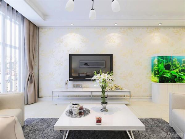 客厅整体效果大气简约,明亮透彻,保留了原始户型的宽敞明亮的优点。电视背景墙选用了简单的白底花纹壁纸,做了一圈不锈钢收边,把简约发挥到了极致。
