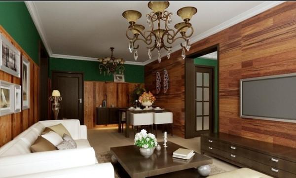 该户型客餐厅的空间比较通透,但在立面的造型上,使用了比较大面积桑拿板擦色处理,以及电视墙和餐厅背景墙上相应的地板上墙处理,这些元素的出现,再加上配饰上的搭配,使其美式乡村风格更加的突出。