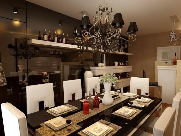 在餐厅的设计中选择了一些外形线条柔的灯具,营造出温馨浪漫的用餐氛围,餐桌,灯具等上面西方复古图案交相辉映,欧式设计的酒柜,使得整个餐厅更更有质感