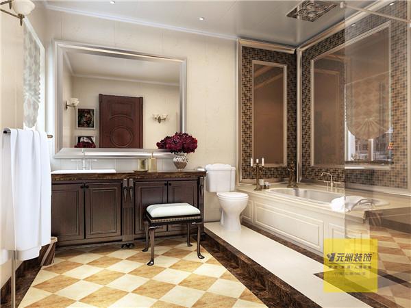 主卫生间用大玻璃隔断的淋浴区,做了很好的干湿分区,石材墙地面、马赛克的局部装饰、局部石材线条的收口处理、装饰吊顶、错层的空间显得功能分区明确合理,开放式衣柜把主卧室做了很巧妙过度。