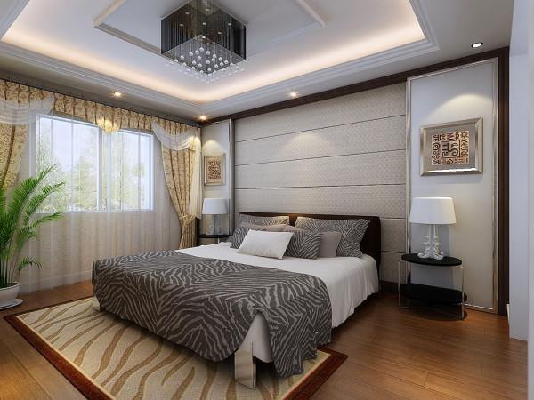 根据该方案的原有空间,本方案的设计风格为现代的简约风格。 卧室整体为暖色调,温馨舒适。