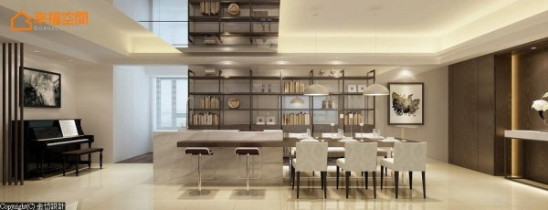 开放式的机能空间,以餐桌衔接轻食中岛,并于中岛前规划吧台座位,并在天花处以时尚的镜面暗示机能分界。 (此为3D合成示意图)