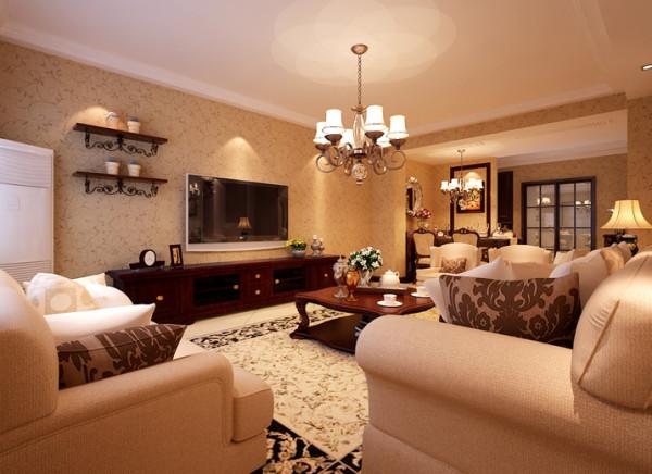 客厅整体突显出一种豪华大方的贵族气息,大面积的地毯搭配着造型优雅而舒适的美式沙发。温暖的色调,白色的灯光,更显家的温馨。