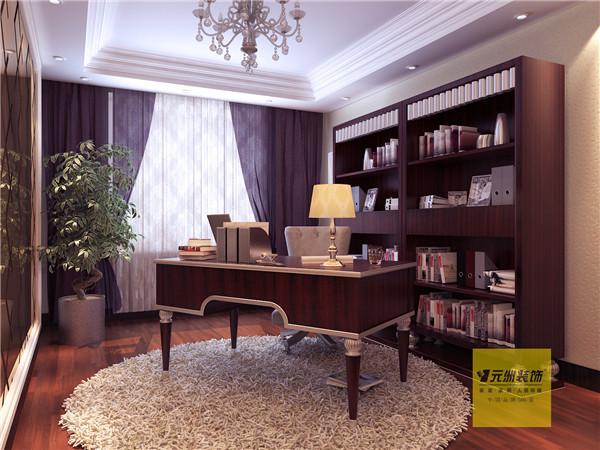 由于主人喜好看书,一个大的书柜必不可少,一张书桌,一把椅子,一盏台灯,营造了很好的学习氛围,宁静而神圣!