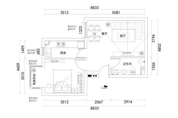 设计说明:本案的餐厅,没有明显的区域。在结合空间的大小,把餐厅区与客厅区合理的摆放。因为户型比较小,为了空间的感觉在造型上没有做太多处理,而在色彩上呈现了地中海的韵味。