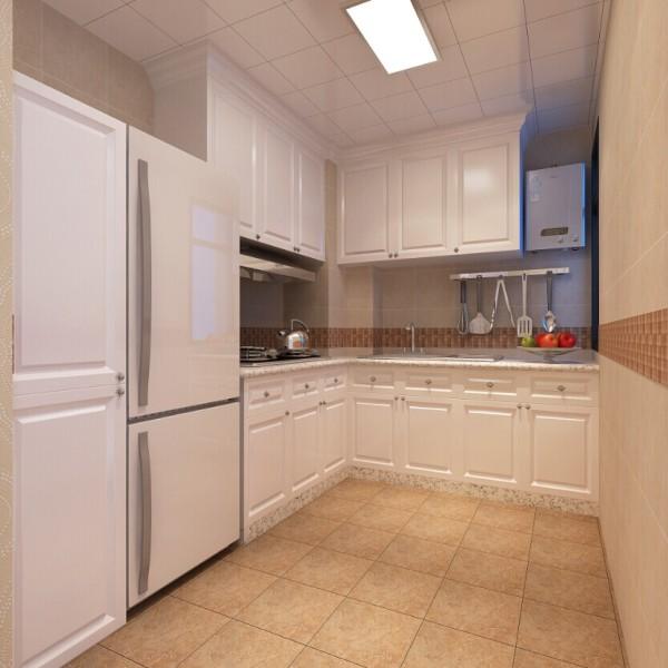 橱柜采用模压门板橱柜,搭配仿古砖,局部采用陶瓷马赛克装饰。