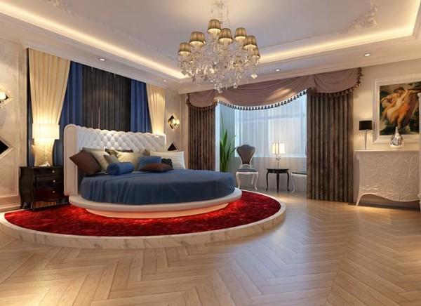 【成都实创装饰】中铁西城—欧式风格 典雅高贵 装修参考—整体家装—卧室装修效果图 亮点:应客户要求在主卧室内加圆床,在圆床范围内加一个圆形地台,是空间更有立体感,更突出效果。