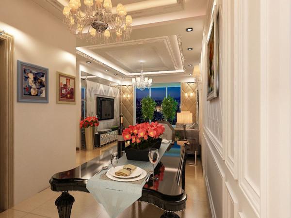餐厅空间也较小,所以放置了带有急具简欧风格的二人餐桌,并放置了酒柜,提供了娱乐与休闲,厨房在靠窗的位置做了橱柜,洗衣机摆在了小阳台里。