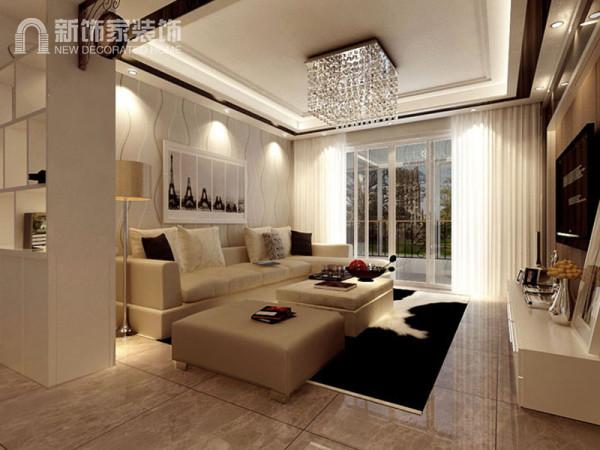 客厅采用大块地砖产生视觉上延伸的效果。壁纸简约时尚的线条勾画出简约的意境,同时由于设计形式法则的类同,自然使整个空间融会贯通,自然和谐,极大的展现了空间的高贵品质和雅致气息。