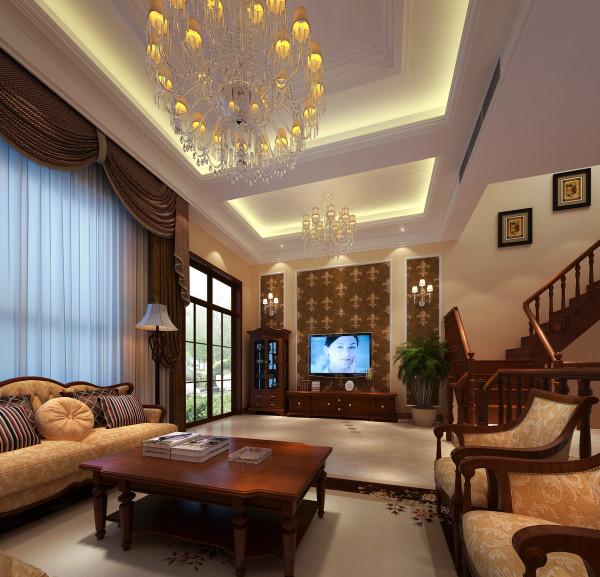 亮点:大气优雅的水晶灯和吊顶,棕色系布艺的窗帘,壁纸,实木家具合理的搭配 。充分的展现了欧式的华贵,大气,优雅从容。