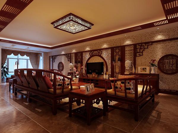 客厅的设计讲究线条简单流畅、融合着精雕细琢的意识。虽有传统元素的神韵,却不是一味照搬,造型更为简洁流畅,雕刻图案将简洁与复杂巧妙地融合。