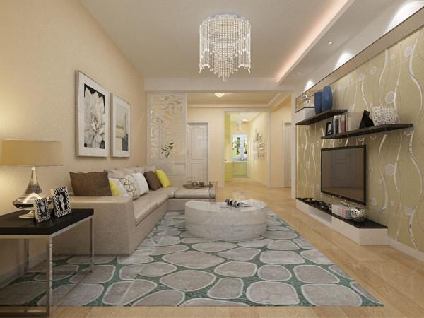 客厅选用浅咖色皮质沙发,注重质感与舒适,亮色配饰活跃了空间氛围。电视背景墙为石膏板外层圈边,中间内嵌茶镜,搭配带有反光花纹的咖色壁纸,视觉上缩短了电视墙,同时点亮了空间,带来浓厚的时尚感。
