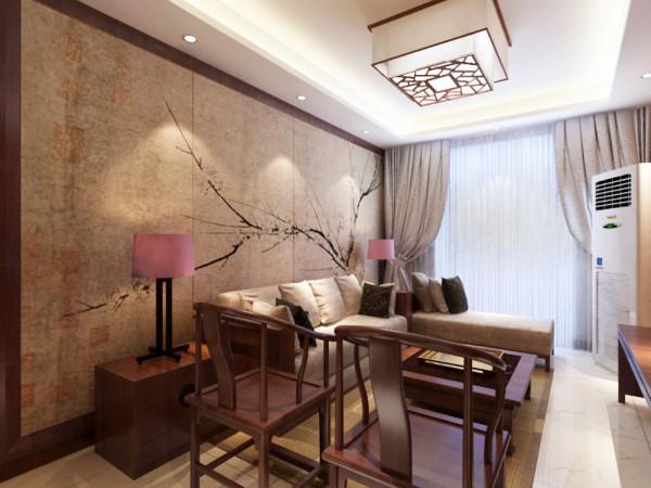 客厅的电视背景墙是以字体壁纸全铺的一面墙搭配一些装饰品而形成的电视背景墙。沙发背景墙是以一幅中式的画来搭配,整体的家具都是选用红桃木色的家具,所以的空间都是以白墙为主。