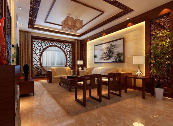 【设计理念:中国风与清新典雅相结合不失沉稳。 亮点:清新优雅的背板加上中式元素的木雕刻时尚大气而不脱俗,电视墙旁定制隐形门使得整面墙对称统一。】