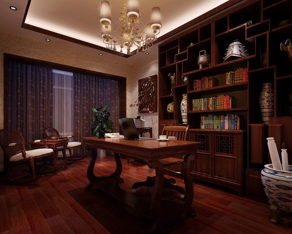 书房的设计以中国传统古典文化作为背景,营造的是极富中国浪漫情调的生活空间,如红木、青花瓷以及一些木质工艺品等都体现了浓郁的东方之美