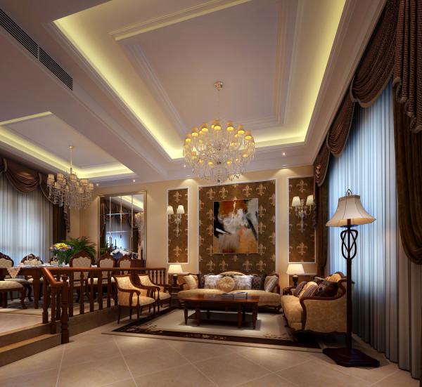 设计理念:客厅是个连接内外沟通感情的主要场所,是最能体现业主生活品味和情调的地方,设计通过颜色的整体搭配和独特的造型突出了欧式的风格