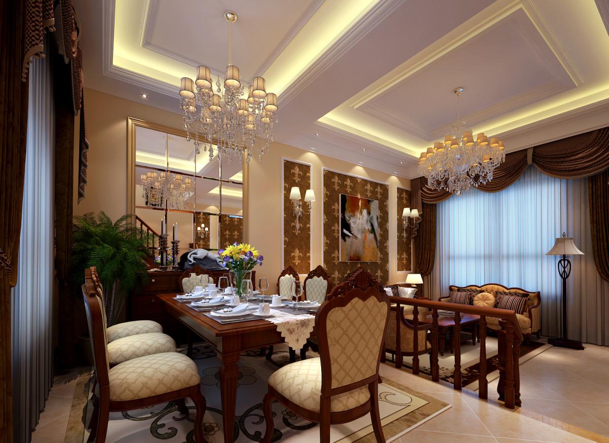亮点: 餐厅的背景用镜面做为装饰,大气又不显沉闷,同时餐厅与客厅之间利用步入式台阶的方式区分开来,使整个空间看着更有层次。
