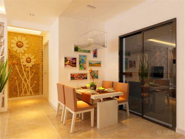 餐厅突出简洁的形式,餐桌的侧面可以挂上一些鲜艳的图画,给人以良好的心情,即使在小的空间也做到简约,实用