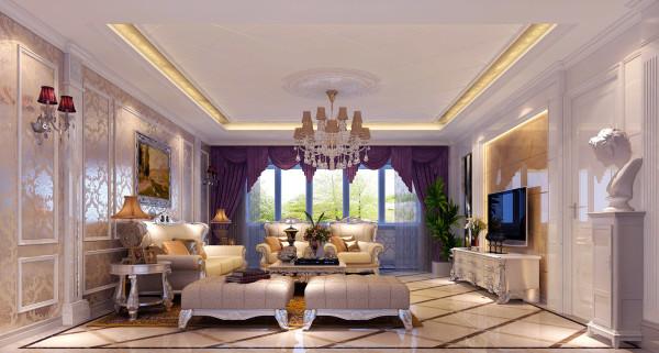 华丽的装饰、浓烈的色彩、精美的造型达到雍容华贵的装饰效果。欧式客厅顶部 喜用大型灯池,并用华丽的枝形吊灯营造气氛。门窗上半部多做成圆弧形,并用 带有花纹的石膏线勾边。