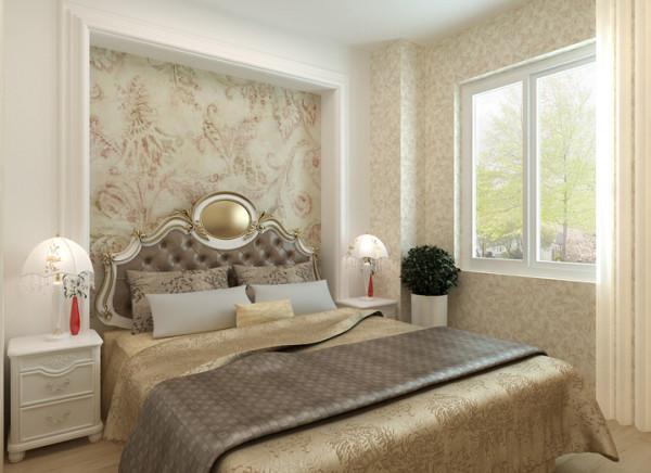 高贵浪漫的卧室设计理念:卧室休息的核心区域,舒适适合睡眠很重要,不能采取刺激性的色调,以舒缓心情的色调  为主。  亮点:简洁欧式的床头背景墙,配上深浅搭配的壁纸,使整个空间看起来温馨而又浪漫。