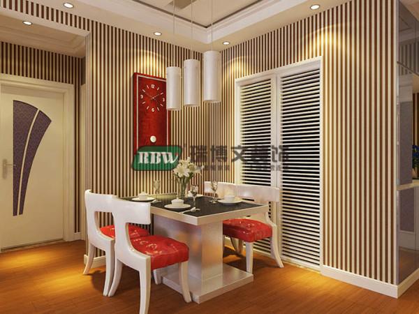 餐厅区由于面积不大,所以不放豪华灯具和装饰,那样会显得拥挤,简洁大方的红色钟表既凸显空间有同意风格色调