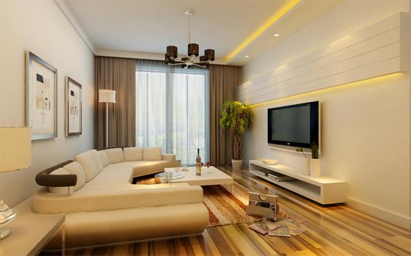 自然光线与纯净墙面使环境干净明亮,柔软的长沙发与足够大的活动空间满足业主的会客需求,电视背景墙的设计摈弃繁琐元素,直线造型更加利落。