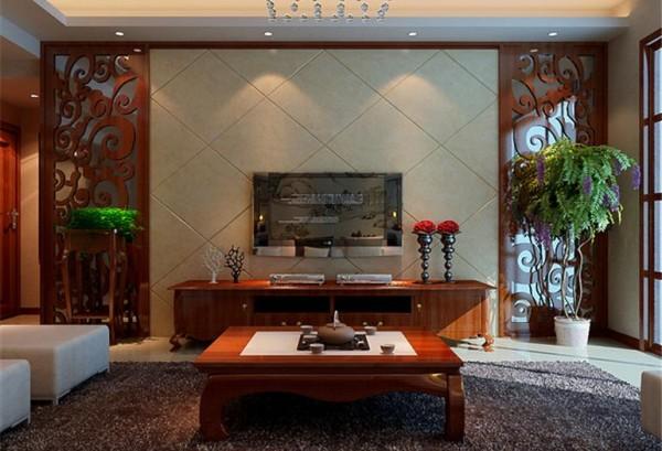 红檀木家具,大理石地板,为房间气氛添姿。红檀木深沉低调,不乏现代感,电视背景墙大胆选用淡黄色,与白色大理石互相融合。
