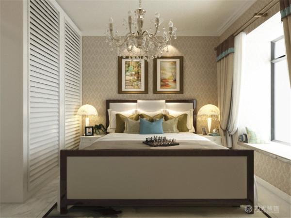 主卧放置了双人床、电视柜、柜子。合理的运用了空间。百叶的柜子增显了时尚的气息。地板是800×800的地砖