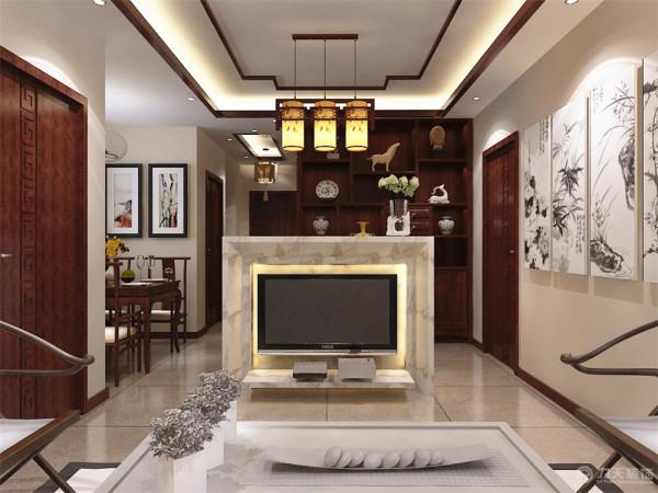 客厅电视背景墙与吧台一起,在沙发正对处为电视背景墙,下面采用悬柜,在背面为吧台,这种表现使整个空间,体现着中式的古朴,传统中透着现代,现代中揉着古典